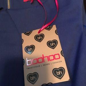 Boohoo Persie Pleat Detail Dress in Cobalt